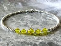 Dainty Sterling Silver Bracelet With Yellow Austrian Crystals | Silver Sensations